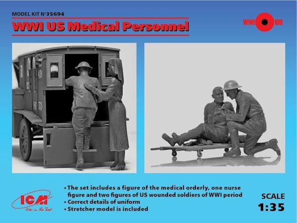 ICM 35694 WWI US Medical Personnel (4 figures) (100% nouveau moule)