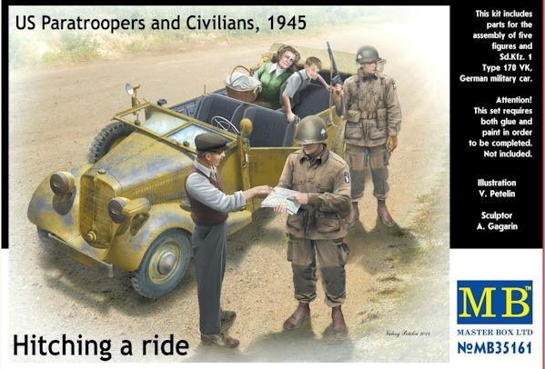 MASTER BOX 35161 US Paratroopers et civils, 1945 with Sd.Kfz 170 VK German military car