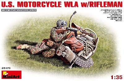 MINIART 35179 ENSEMBLE MOTOCYCLETTE US TYPE WLA avec SOLDAT US AU COMBAT