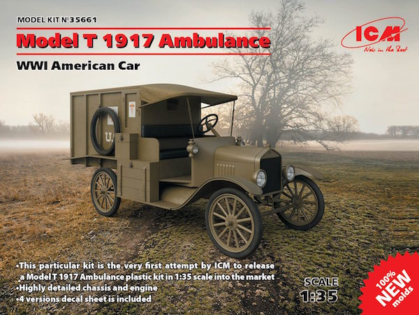 ICM 35661 Model T 1917 Ambulance, WWI American Car (100% new moulds)