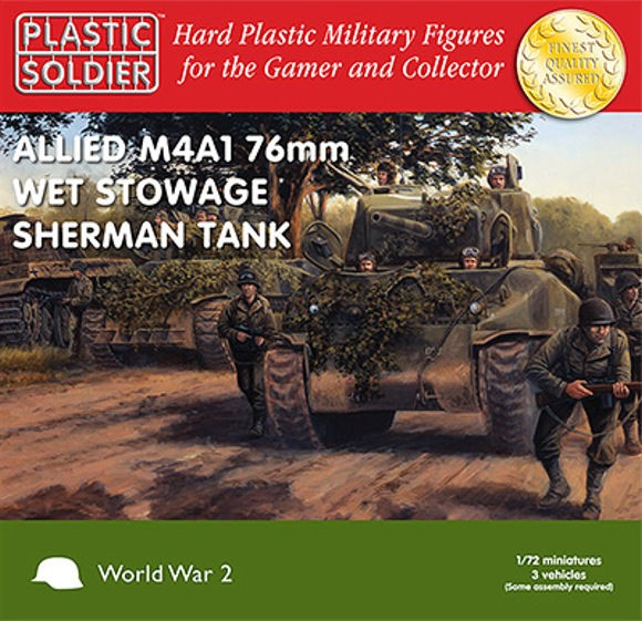 Plastic Soldier WW2V20005 Sherman M4A1 76mm Wet Tank (3 chars)
