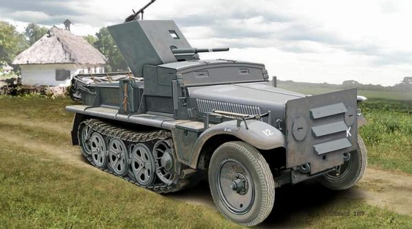 ACE 72281 WWII German SdKfz 10 Halftrack with 3.7cm PaK 35/36