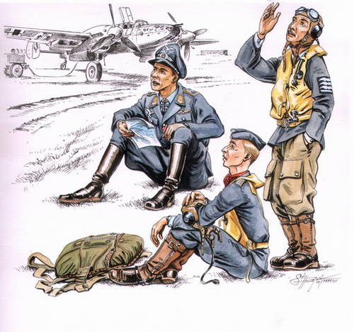 CMK CMKF72112 German pilots at rest WW II (3 fig.)